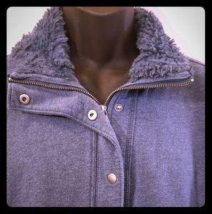 Faux Fur Collar Zippered Cotton Jacket XL